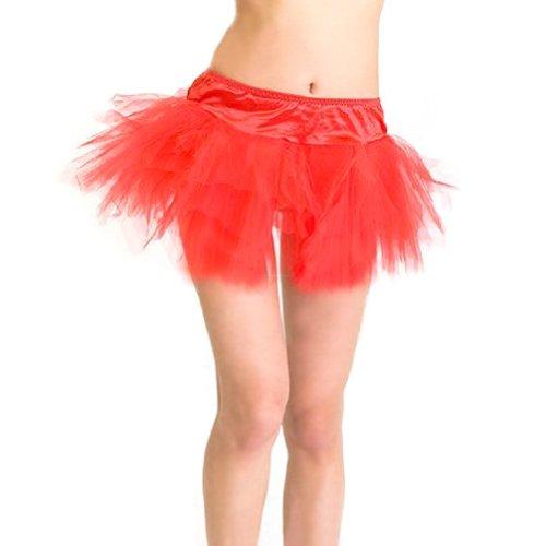 Tutu Idea Red Costume (MUKA Women's Organza Tutu, Mini Lace Petticoat, Red, Gift Idea)