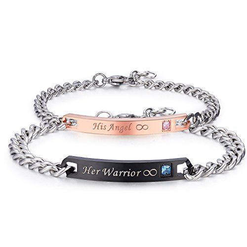 LAVUMO His Hers Couple Bracelets Men Women Stainless Steel Matching Bracelets Set His Angel Her Warrior Anniversary Promise Gifts 2pcs
