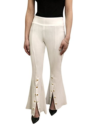 OrlyCollection Womens Unique High-Waist Flared Bell Bottom Stretchy Update Open Front Slit with Detailed Design Made in USA