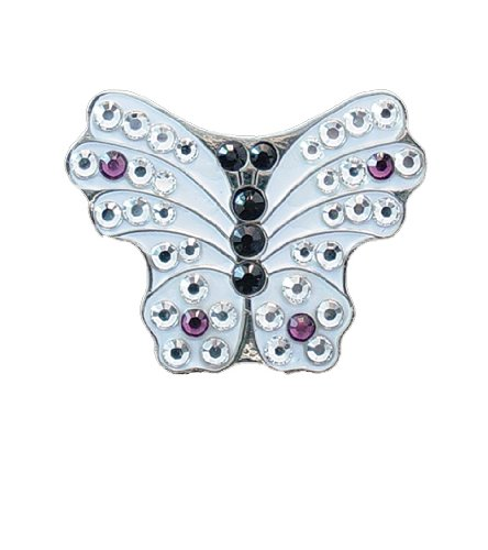 - Bella Crystal Butterfly Hat Clip Set, White