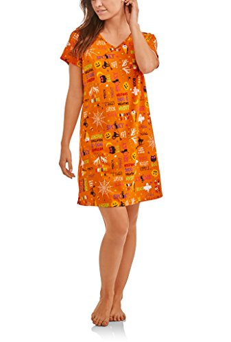 Women's Halloween Nightgown Long Sleep Shirt (Halloween All Over, Small/Medium/6-10)