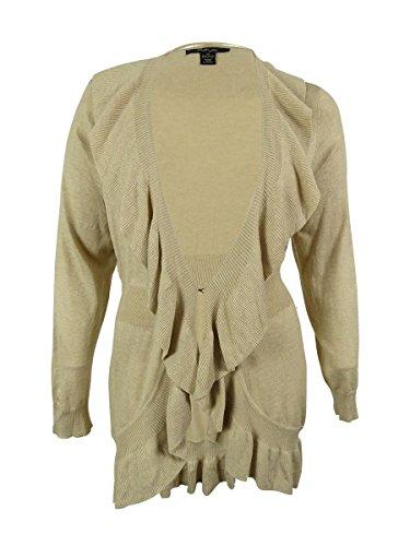 Style & Co. Women's Hook & Eye Ruffle Trim Tunic Sweater (1X, Biscuit Heather)