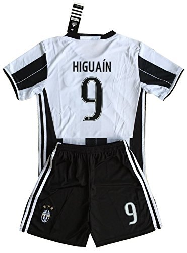 Higuain #9 Juventus 2016-2017 Kids/Youths Home Soccer Jersey & Shorts (Age 11-13 years)