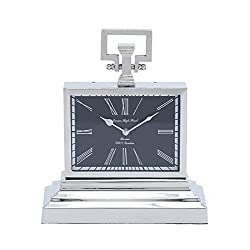 Deco 79 Metal Nickel Table Clock, 11-Inch by 13-Inch