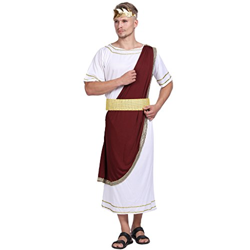 EraSpooky Men's Toga Costume Roman King Costume Caesar Adult Halloween Costumes for Men - Funny Cosplay Party]()