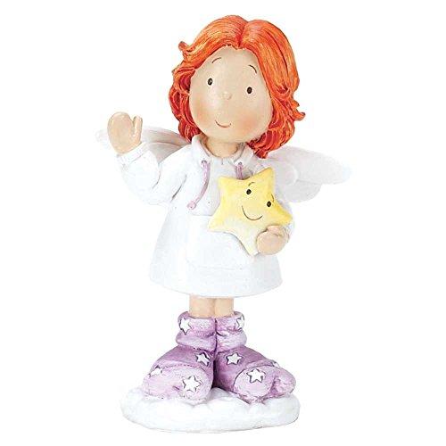 Angel Holding Star Figurine - Redheaded Angel Holding Smiling Star 3.5 Inch Resin Tabletop Angel Figurine