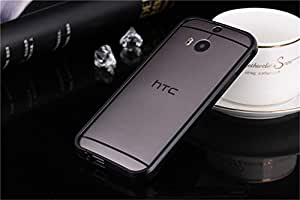 DAYJOY Luxury Deluxe Waist style Aluminum Alloy metal protective bumper Frame case cover shell for HTC ONE M8 (BLACK)