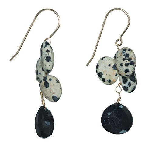 ed Dalmatian Jasper w Black Onyx Earrings on 14K Gold Filled French Earwire ()