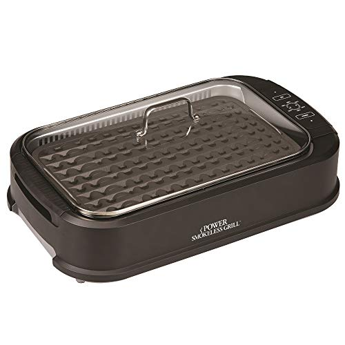 Power Smokeless Grill with Tempered Glass Lid with Interchangeable Griddle Plate and Turbo Speed Smoke Extractor Technology (Indoor Grills Amazon)