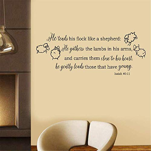 Iunant Wall Sticker Quotes Decals Decor Vinyl Art Stickers He Tends His Flock Like A Shepherd He Gather The Lambs in His Arms and Carries Them Close to His Heart for Living Room