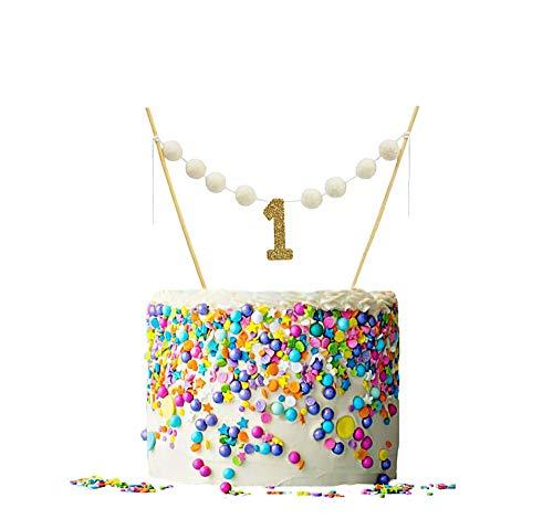 ALIVELY First Birthday Banner Cake Topper - Handmade Happy Birthday Felt Ball Garland Decoration - 1st Birthday Cake Bunting Topper with Glitter ONE (Gold) (Smash Topper Cake)