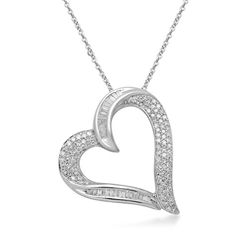 Jewelili Sterling Silver 1/2cttw White Round Diamond and Baguette Heart Pendant Necklace, 18