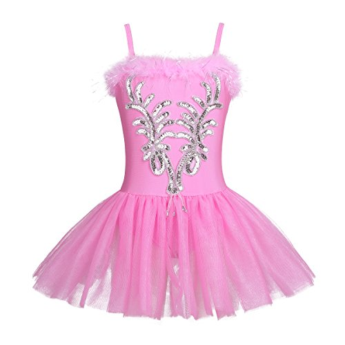 CHICTRY Kid's Girls Sequins Beads Flower Fairy Ballerina Dance Costume Ballet Tutu Dress with Long Gloves and Hair Clip Set Pink 5-6 -