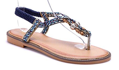 Schuhtempel24 Damen Schuhe Zehentrenner Sandalen Sandaletten Blau Flach 1FYUEnb