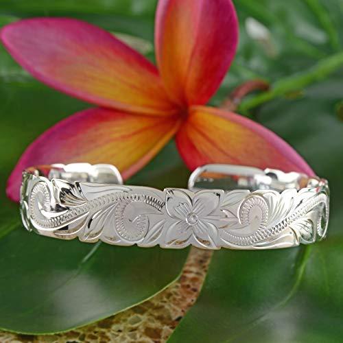 Sterling Silver 10mm Hawaiian Hibiscus Cuff Bracelet (sterling-silver) by Hawaiian Silver Exchange (Image #1)