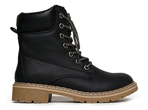 Shoe J Calf Combat Pu Toe On � Black Mid � Adams Lace Fashion Round Trek Military Boot Ankle Casual Bootie Slip Up Outdoor HAqHZwxrBn