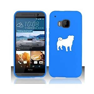 HTC One M9 Snap On 2 Piece Rubber Hard Case Cover Pug (Light Blue)