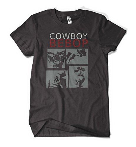 Cowboy Bebop White Red Anime Men's Cotton Black T-Shirts
