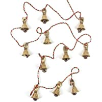 Rastogi Handicrafts Brass Decorative String of 11 Metal Vintage Indian Style Fair Trade Wall Hanging Bells (1)