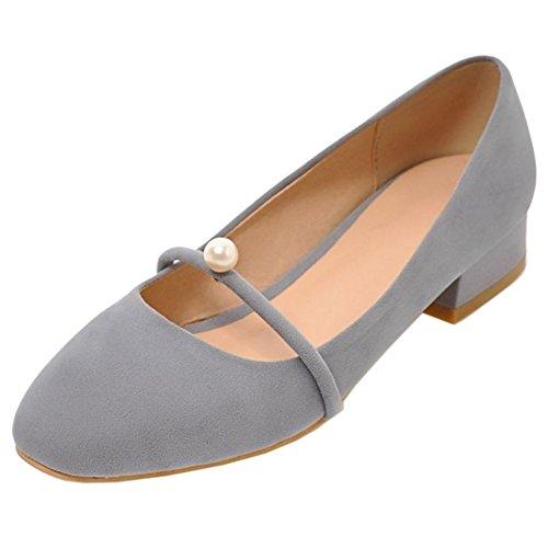 Chaussures Mary TAOFFEN Escarpins Bas Bas Talon A Femme Enfiler 66 Bloc Rond gris Bout Classique Ferme Janes 4qnW7wr4O