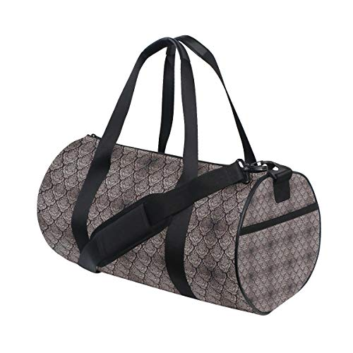 (LONSANT Ancient Byzantine Pattern with Modern Design Traditional Tile Flower Barrel Duffel Bag Sports Yoga Gym Fitness Bag Travel Weekender Bags for Men and Women)