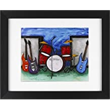 Drums & Guitar Rock Band - Music Band Framed Art Print