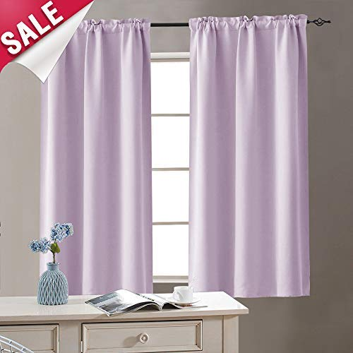 Lilac Room Darkening Curtains for Living Room 72 inches Long Window Curtain Panels for Bedroom Drapes Triple Weave Rod Pocket Window Curtains, 1 Panel