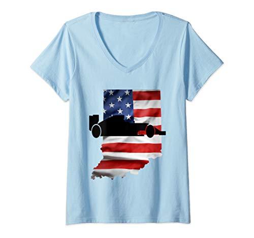 (Womens Indiana American Flag Racing Racecar V-Neck T-Shirt)