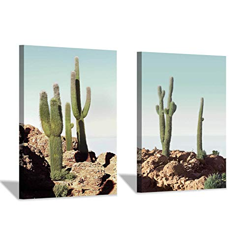 Cactus Wall Art Canvas Print: Desert Plant Succulent Graphic Art Set Painting Print for Dining Room (12''x16''x2pcs) ()