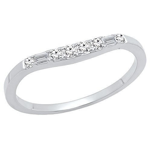 Dazzlingrock Collection 0.15 Carat (ctw) 14K Baguette & Round Diamond Ladies Wedding Band Guard Ring, White Gold, Size 4