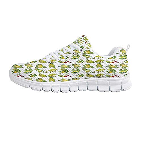 YOLIYANA Nursery Sport Shoes,Frogs in Different Positions Funny Happy Cute Expressions Faces Toads Cartoon Sneakers for Girls Womens,US Size -