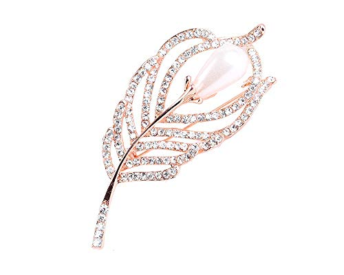 JOYID Elegant Leaf Brooch Pin Peacock Feather Shape with Pearl Shining Crystal Rhinestones Fashion Brooches for Women-Gold with Pearl
