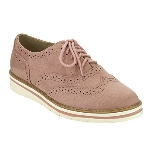 Soda IG04 Women's Lace Up Perforated Wingtip Stitched Oxfords, Color Dusty Mauve, Size:7.5