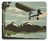 Vintage Airplane Mouse Pad, Vintage Airliner Flying Over The Mountains with Tree and Deer Silhouettes, Standard Size Rectangle Non-Slip Rubber Mousepad, Multicolor