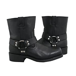 Xelement 2502 Womens Black Zipper Harness Motorcycle Boots - 6 1/2