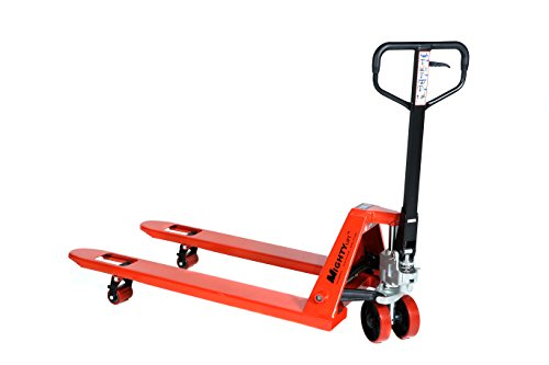 Mighty Lift ML55C Heavy Duty Pallet Jack Truck, Wheels, Polyurethane on Steel, 50'' Height, 27'' Width, 48'' Length, 5500 lb. Load Capacity, Orange by Mighty Lift