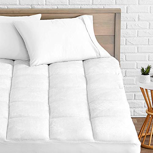 Bare Home Pillow-Top King Mattress Pad - Premium Goose Down Alternative - Overfilled Microplush Reversible Top - Super-Soft Hypoallergenic Mattress Topper (King)