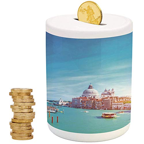 iPrint Venice,Ceramic Baby Bank,Christmas Birthday Gifts for Kids Boys Girls Home Decoration,Grand Canal and The Salute Basilica on Sunny Day Touristic Destination