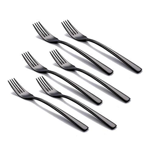 OMGard Black Salad Fork Set, 6 Piece 18/10 Stainless Steel Flatware 6.7-inch Dinner Dessert Forks Only Service for 6 Heavy Weight Table Silverware Set Bulk Eating Utensils Cutlery Dishwasher - Set Black Salad