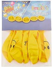 بالونات للحفلات بطبعة وجه مبتسم من ايموشنز، 5 قطع - اصفر