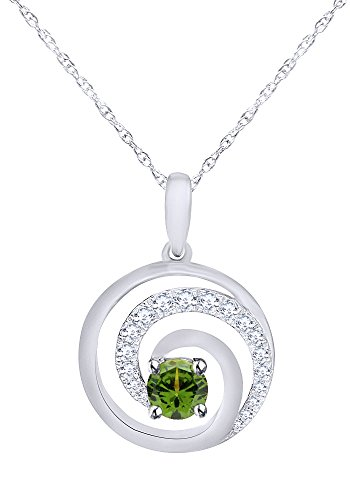 (Wishrocks Simulated Peridot Swirl Circle Pendant Necklace in 14K White Gold Over Sterling Silver)