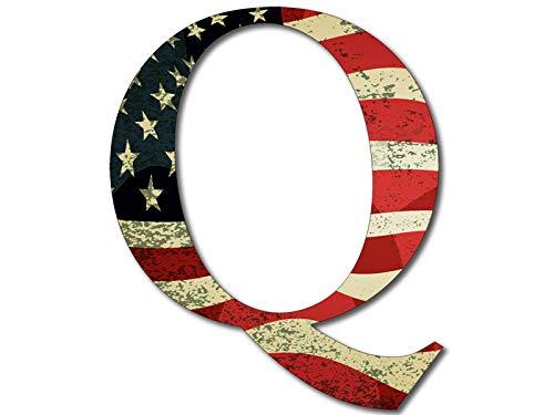 - Q Shaped Vintage American Flag Sticker (qanon anon Trump us USA Patriot)