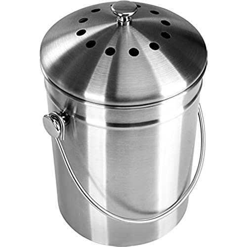 Good Premium Quality Stainless Steel Compost Bin 1.3 Gallon, Includes Charcoal  Filter   Utopia Kitchen