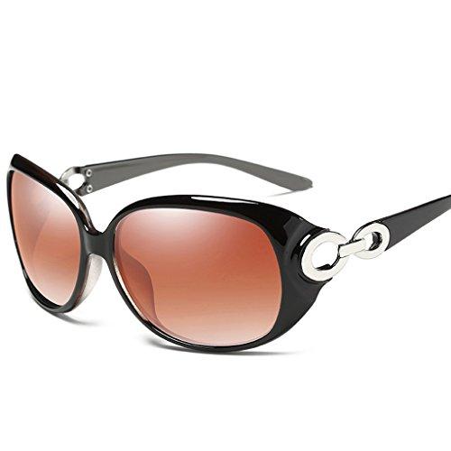 la Gafas 65mm Color cafe de Elegante de Black Moda Wayfarer Calle de polarizadas Color sol Moda Gafas Mujer FgqrBFR