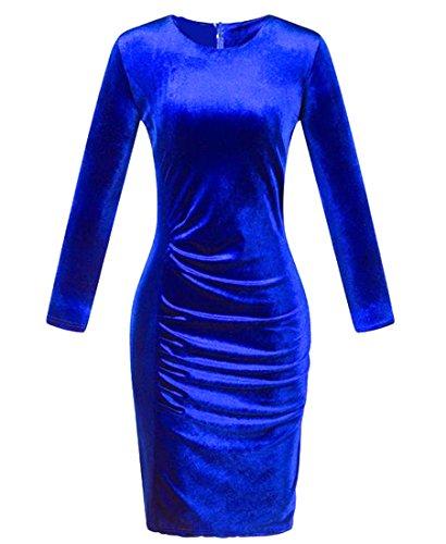 Cruiize Manches Longues En Velours Ras Du Cou Massif Robe Moulante Midi Bleu Royal Féminin