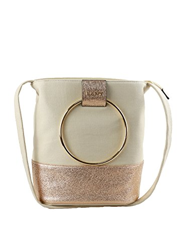 LANY Canvas and Textured Metallic Fabric Metal Loop Top Handles Bucket Handbag w/Crossbody Strap (Natural Fabric Handbags)