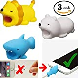 #10: Embrium 3 Pcs Lightning Cable Bite Protectors (Lion, Shark, Polar Bear) Cute Animal Cord compatible with iPhone (5, 5S, SE, 6, 6S, 7, 8, X)