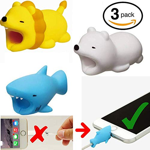 Embrium 3 Pcs Lightning Cable Bite Protectors (Lion, Shark, Polar Bear) Cute Animal Cord compatible with iPhone (5, 5S, SE, 6, 6S, 7, 8, X)