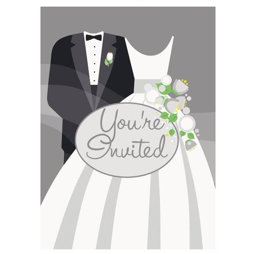 Silver Wedding Invitations, 8ct