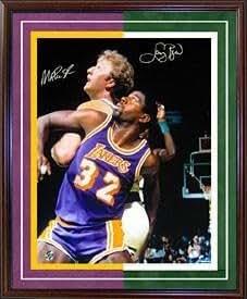 Signed Magic Johnson Photograph - Larry Bird & Framed vs Celtics 1987 Finals 16x20 - Autographed NBA Photos
